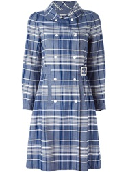 Courreges Vintage Checked Trench Coat Blue