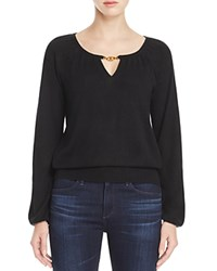Tory Burch Marie Keyhole Cashmere Sweater Black