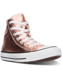 Converse Women's Chuck Taylor High Top Metallic Leather Casual Sneakers From Finish Line Metallic Sunset Glow Whit