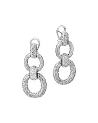 Classic Chain Diamond Circle Drop Earrings John Hardy Silver