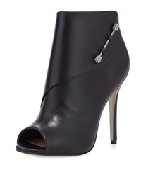 Badgley Mischka Julesa Leather Peep Toe Bootie Black
