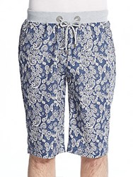 American Stitch Paisley Print Chambray Shorts Dark Blue