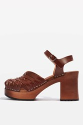 Topshop Gullan Wood Sandals By Swedish Hasbeens Brown