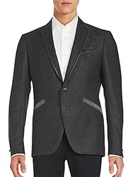 John Varvatos Textured One Button Virgin Wool Blazer Grey