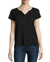 Neiman Marcus Cap Sleeve Split V Neck Tee Black