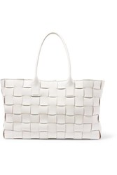 Bottega Veneta Cabas Medium Intrecciato Leather Tote White