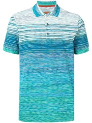 Missoni Striped Short Sleeve Polo Top Blue