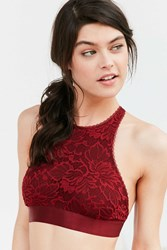 Out From Under Katia Lace High Neck Bra Berry