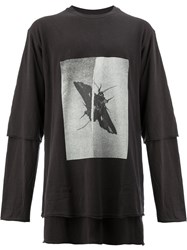 Song For The Mute Insect Print Layered T Shirt Cotton Black