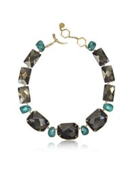 Tory Burch Goldtone Brass W Denim Blue Crystals Necklace Green