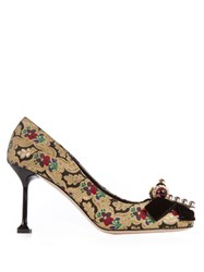 Miu Miu Bow Embellished Floral Brocade Pumps Black Multi