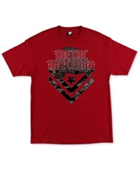 Metal Mulisha Men's Cam Graphic Print Logo Cotton T Shirt Cardinal