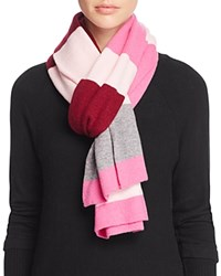 Bloomingdale's C By Variegated Striped Scarf Pinks Gray
