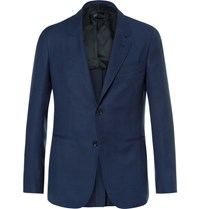 Caruso Blue Butterfly Slim Fit Unstructured Wool Hopsack Blazer Navy