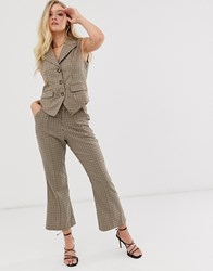 Neon Rose Fitted Waistcoat In Check Beige