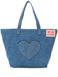 Love Moschino Denim Tote Bag Blue