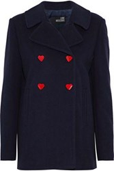 Love Moschino Double Breasted Snap Detailed Wool Blend Coat Midnight Blue