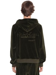 Haider Ackermann Logo Embroidered Cotton Chenille Hoodie Green