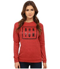 Burton Quartz Crew Tropic Heather True Black Women's Long Sleeve Pullover Red