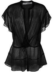 Iro Wrap Front Blouse Black