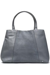 Halston Suede Paneled Textured Leather Tote Gray