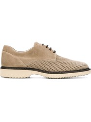 Hogan Perforated Lace Up Shoes Nude And Neutrals