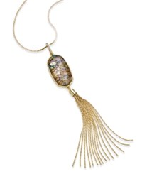 Inc International Concepts Gold Tone Shell Stone And Tassel Lariat Long Length Necklace Only At Macy's