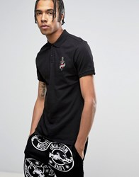 Love Moschino Tattoo Chest Embroidery Polo Shirt Black