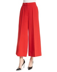 Escada Wide Leg Cropped Pants Cherry Red