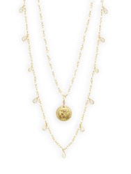 Alanna Bess Freshwater Pearl And Coin Pendant Layered Necklace Gold