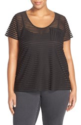 Plus Size Women's City Chic Sheer Stripe Top