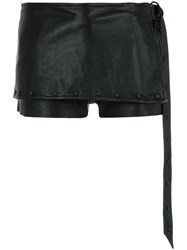 Andrea Bogosian Layered Leather Shorts Black
