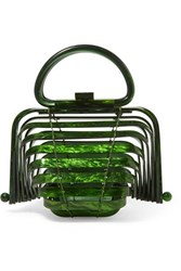 Cult Gaia Lilleth Mini Collapsible Acrylic Tote Green