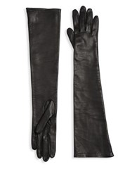 Saks Fifth Avenue Long Silk Lined Leather Gloves Black