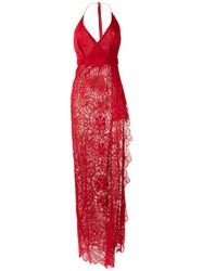 Martha Medeiros Lace Gown Cotton Red