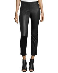 Alexander Wang Cropped Napa Leather Leggings Black