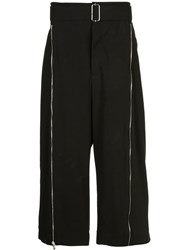 The Viridi Anne Wide Leg Cropped Trousers Black