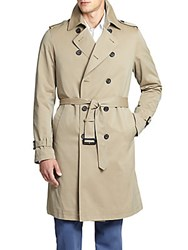 Saks Fifth Avenue Double Breasted Trench Coat Tan
