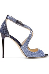 Jimmy Choo Emily Glittered Leather Sandals Blue