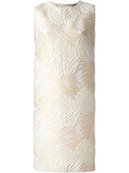 Ermanno Scervino Leaf Brocade Shift Dress Nude And Neutrals