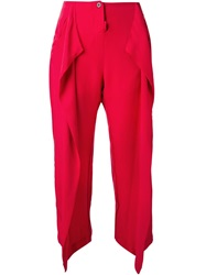 Lost And Found Front Pleat Cropped Trousers Red