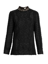 Rebecca Taylor Embellished Collar Floral Lace Blouse Black
