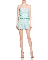 Aqua Border Lace Double Layer Romper Light Mint