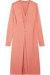Lanvin Pleated Washed Satin Midi Dress Blush