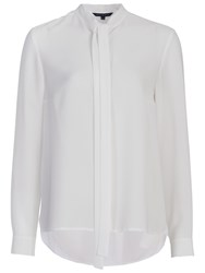 French Connection Pippa Plains Long Sleeve Tie Neck Shirt Winter White
