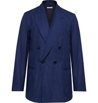 Blue Blue Japan Double Breasted Cotton Twill Suit Jacket Blue