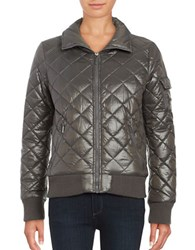 French Connection Quilted Zip Front Coat Grey