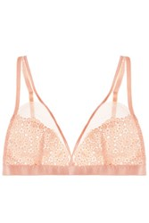 Mimi Holliday By Damaris Mesh Paneled Embroidered Lace Soft Cup Triangle Bra Blush