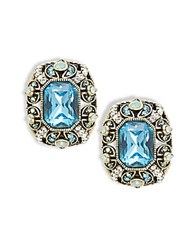 Heidi Daus Crystal And Rhinestone Button Stud Earrings Aquamarine