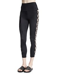 Norma Kamali Crisscross Side Cropped Sport Leggings Black
